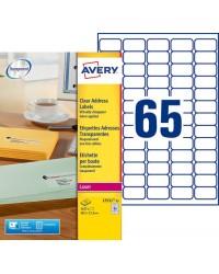 Avery paquet 1625 étiquettes transparentes 38X21 LASER L7551-25