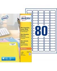 Avery paquet 2000 Mini étiquettes blanches 35.6X16.9 L7632-25