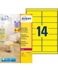 Avery paquet 350 étiquettes jaune fluo 99.1X38.1 LASER L7263Y-25