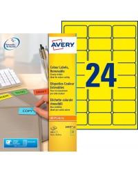 Avery paquet 480 étiquettes jaune fluo enlevables 63.5X33.9 LASER L6035-20