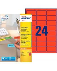 Avery paquet 480 étiquettes rouge enlevables 63.5X33.9 LASER L6034-20
