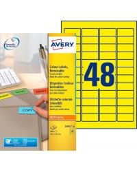 Avery paquet 960 étiquettes jaune fluo enlevables 45.7X21.2 LASER L6041-20