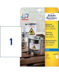Avery paquet 10 étiquettes A4 polyester 210X297 Jet d'encre J4775-10