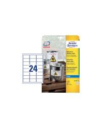 Avery paquet 240 étiquettes polyester 63.5X33.9 Jet d'encre J4773-10