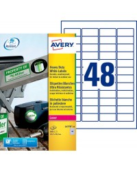 Avery, Etiquettes en polyester, 45.7 x 21.2 mm, Blanc, Laser, L4778-20