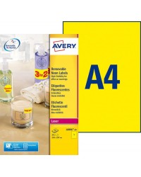 AVERY  Etiquette, A4, 210 x 297 mm, Jaune fluo, Adhésif enlevable, Paquet de 25, L6006-25