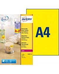 Avery paquet 25 étiquettes A4 fluo jaune 21X29.7CM LASER L6006-25