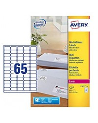 Avery Etiquettes mini, 38.1 x 21.2 mm, Laser, Paquet de 1625, L7651-25