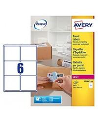 Avery Etiquettes blanches, 99.1 x 93.1 mm, Laser, Paquet de 600, L7166-100