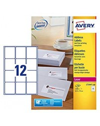 Avery paquet 1200 étiquettes adresses blanches 63.5X72 LASER L7164-100