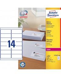 Avery Etiquettes d'adresses blanches, 99.1 x 38.1 mm, Laser, Paquet de 1400, L7163-100