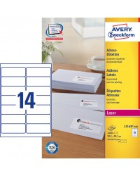 Avery paquet 1400 étiquettes adresses blanches 99.1X38.1 LASER L7163-100
