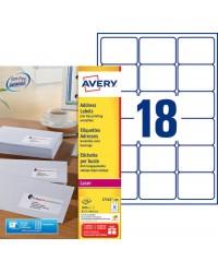 Avery Etiquettes d'adresses blanches, 63.5 x 46.6 mm, Laser, Paquet de 1800, L7161-100