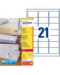 Avery paquet 2100 étiquettes blanches 63.5X38.1 LASER L7160-100