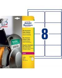 Avery boite 80 étiquettes polyéthylène ultra résistantes 99.1x67.7 LASER L7914-10