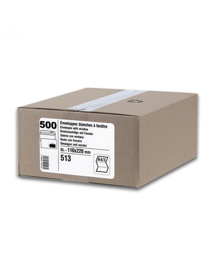 GPV Carton 500 enveloppes DL 110x220 blanches 80g, avec fenêtre, auto adhésives avec bande de protection