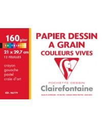 Clairefontaine, Papier dessin, à Grain, Couleurs vives, 240 x 320 mm, 160G, 96770C