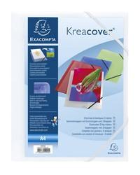 Exacompta Chemise à élastiques personnalisable, KREACOVER, 3 rabats, Polypro Blanc, 55992E