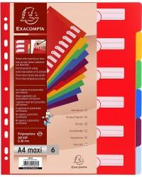 Exacompta Intercalaires en plastique, A4+, Polypro, 6 positions, 4806E