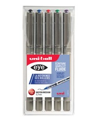 Uni-ball Stylo roller eye fine UB-157, étui de 5, assorti, UB157/5 ASS02