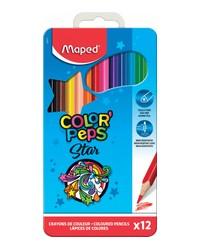Maped, Crayons de couleur, Color'Peps, Triangulaire, Boite métal de 12, 832014