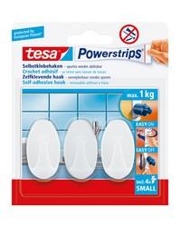Tesa Powerstrips Crochet adhésif SMALL, ovale, blanc, 57533-16-0