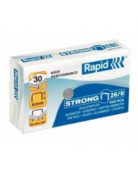 Rapid Agrafes 26/6, Strong, Galvanisé, Boîte de 1000, 24861400