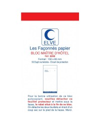 Elve Bloc Maître d'hotel, 85x150mm, 50 Duplicata autocopiants, 2232