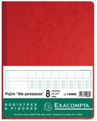Exacompta Registre piqure, 320 x 250 mm, Tete paresseuse,  8 colonnes, 80 Pages, 14080E