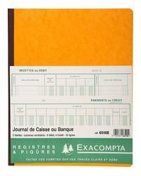Exacompta Registre piqure, Journal de caisse ou Banque, 320 x 250 mm, 33 Lignes, 80 Pages, 6510E