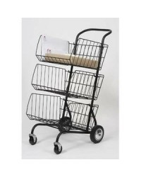 ALBA Chariot pour transport du courrier, en métal, noir, 3 étages, CORCHAR, 62x95x46CM