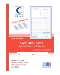 Elve Bloc Factures Devis, Auto entrepreneur, A4 297x210mm, 40 Duplicata autocopiants,19548