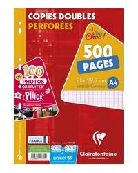 Clairefontaine Copies doubles perforées, A4, Grands carreaux séyès, étui de 500, 14791C