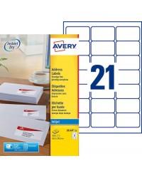 AVERY Etiquette d'adresse jet d'encre, 63,5 x 38,1 mm, blanc, J8160-25