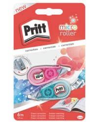 Pritt Souris, Roller correcteur, Blanc, Micro, 5 mm x 6 m, Pack de 2, 1444936/2046392