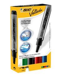 BIC Marqueur pour tableau blanc Velleda Liquid Ink Pocket, étui de 4, 902099