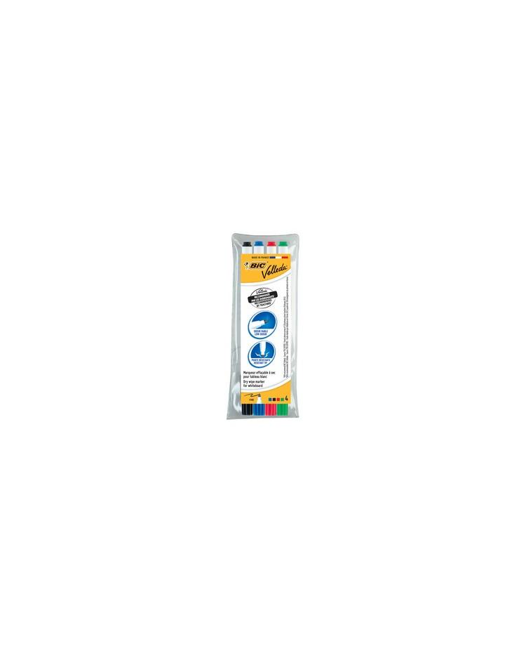 BIC Marqueur pour tableau blanc Velleda 1721, pointe ogive, étui de 4, 1199001724