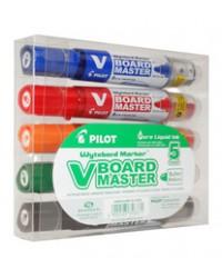 PILOT Marqueur pour tableau blanc V BOARD MASTER, Pointe ogive, Rechargeable, étui de 5, 358371