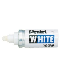 Pentel, Marqueur permanent, X100W, Pointe ogive, 2,9 mm, Blanc, X100W
