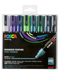 POSCA Marqueur à pigment PC-5M, étui de 8, couleurs froides, PC5M/8 ASS14