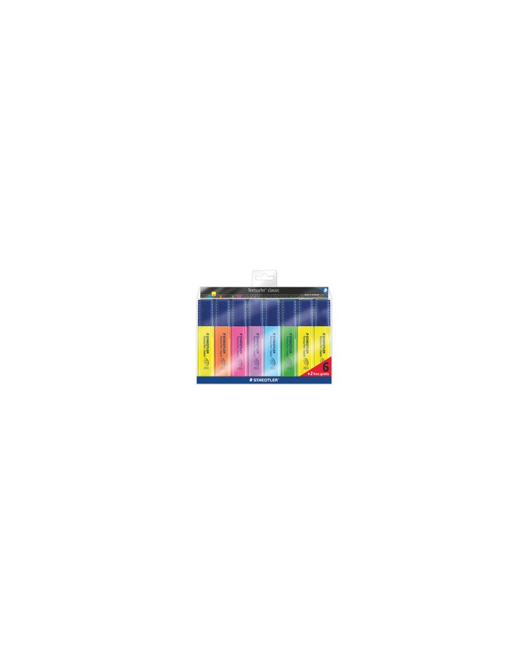 Staedler Surligneur TEXTSURFER CLASSIC, étui de 8, Sans traces, 364 A WP8