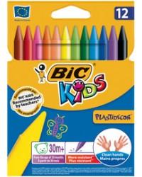 BIC Crayon de cire, Craie PLASTIDECOR, étui en carton de 12, 945764