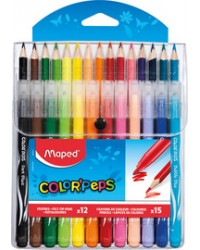 Maped Crayons de couleur triangulaire, Feutre, Multi pack de 27, COLOR'PEPS, 897412