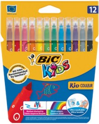 Bic Feutres de coloriage, KID COULEUR, Medium, étui de 12, 9202932