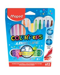 Maped Feutres COLOR'PEPS, Pochette de 12, Long life, 845020