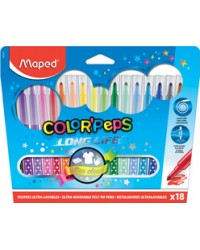 Maped Feutres COLOR'PEPS, Pochette de 18, Long life, 845021