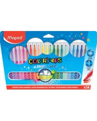 Maped Feutres COLOR'PEPS, Pochette de 24, Long life, 845022