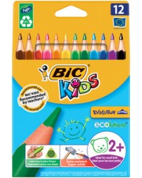 Bic Crayons de couleur EVOLUTION, étui de 12, Triangulaires, 8297356