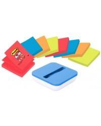Post it Distributeur Z-Notes Bleu, 76x76mm, équipé 8 blocs, VAL-SS8P-R330 / BP885