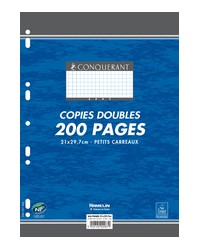 Conquerant Copies doubles perforées A4, Quadrillé 5x5 petits carreaux, étui de 200, 100103227